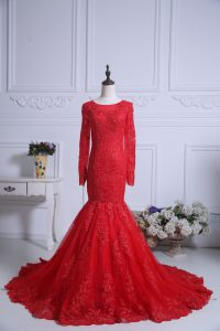 Fantastic Tulle Scoop Long Sleeves Court Train Zipper Lace Ball Gown Prom Dress in Red
