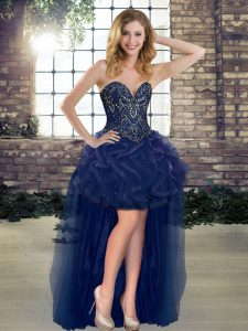 Navy Blue Sweetheart Neckline Beading and Ruffles Military Ball Gown Sleeveless Lace Up