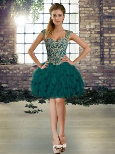 Admirable Dark Green Military Ball Gown Prom and Party with Beading and Ruffles Straps Sleeveless Lace Up