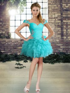 High Quality Organza Off The Shoulder Sleeveless Lace Up Beading and Ruffles Military Ball Dresses in Aqua Blue