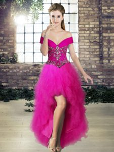 Decent Sleeveless Tulle High Low Lace Up Military Ball Gown in Fuchsia with Beading and Ruffles