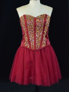 Affordable Wine Red Sweetheart Neckline Beading Ball Gown Prom Dress Sleeveless Lace Up