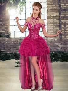 New Arrival Fuchsia Lace Up Halter Top Beading and Ruffles Military Ball Dresses For Women Tulle Sleeveless