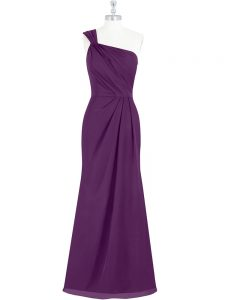 Free and Easy Chiffon One Shoulder Sleeveless Side Zipper Ruching Military Ball Gown in Eggplant Purple