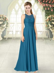 Floor Length Teal Military Ball Gown Scoop Sleeveless Backless