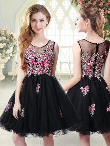 Decent Black Sleeveless Mini Length Embroidery Zipper Military Ball Gowns