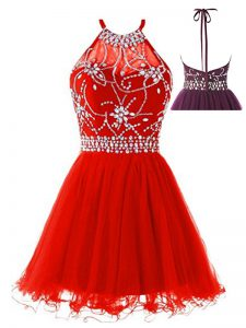 Lovely A-line Ball Gown Prom Dress Red Halter Top Tulle Sleeveless Mini Length Backless
