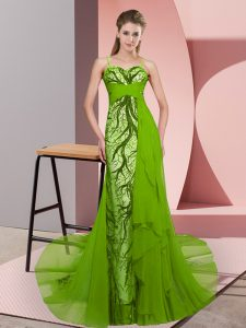 Hot Selling Sleeveless Tulle Sweep Train Zipper Military Ball Gowns in Green with Beading and Lace