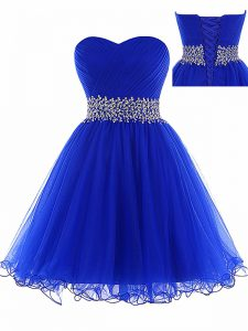 Ruching Military Ball Gowns Royal Blue Lace Up Sleeveless Mini Length