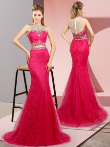Most Popular Sleeveless Sweep Train Lace Up Beading Ball Gown Prom Dress