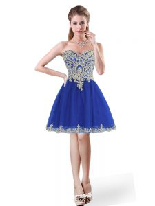Tulle Sleeveless Mini Length Ball Gown Prom Dress and Beading and Appliques