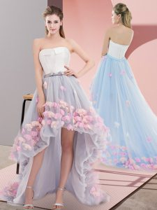 Tulle Strapless Sleeveless Lace Up Appliques Ball Gown Prom Dress in Grey