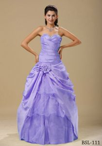 Purple Ruched Cheap Military Ball Dresses with Hand Made Flowers