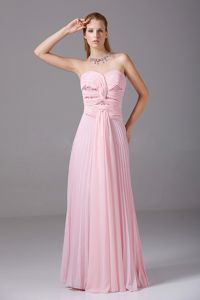 Ruched Pink Chiffon Evening Dresses For Military Ball Floor-length