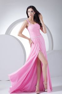 Beaded Ruched Pink Chiffon Plus Size Formal Dresses with High Slit