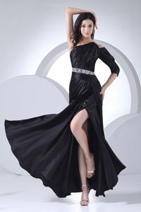 Beaded Black Long Dresses For Military Ball with High Slit Ankle-length