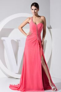 Beaded Military Ball Formal Dresses with High Slit in Watermelon Red
