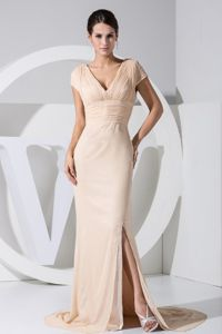 Champagne V-neck Military Ball Attire with High Slit and Brush Train