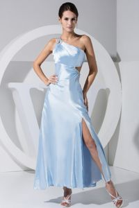 Beaded One Shoulder Blue Gown For Military Ball with High Slit