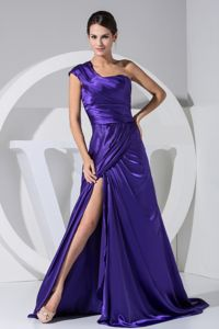 One Shoulder High Slit Purple Cheap Military Ball Dresses Taffeta