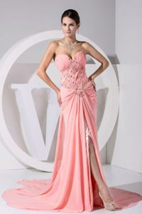 High Slit Pink Chiffon Dresses For The Military Ball with Beading