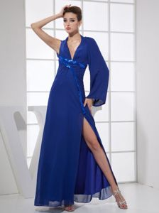 Sequined V-neck Ankle-length Blue Military Ball Dress with High Slit