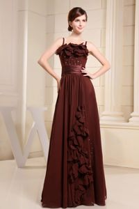Brown Gown For Military Ball with Hand Made Flowers and Beading