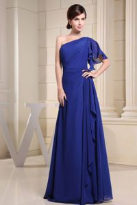 One Shoulder Blue Evening Gowns For Military Ball with Short Sleeve