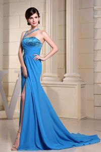 Beaded Blue Plus Size Formal Dresses with High Slit and Brush Train