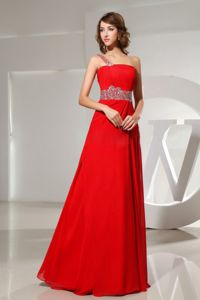 Beaded One Shoulder Red Strapless Formal Dress For Military Ball