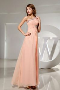 Beaded One Shoulder Chiffon Plus Size Formal Dresses Floor-length