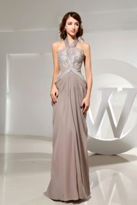 Halter Top Beaded Grey Evening Gowns For Military Ball in Chiffon