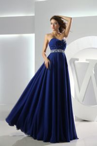 Beaded Sweetheart Chiffon Dresses For The Military Ball in Royal Blue