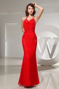 Mermaid Halter Chiffon Plus Size Formal Dresses Red with Beading