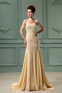 Mermaid Beaded Military Ball Attire with Court Train in Champagne