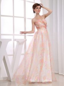 Organza Strapless Muti-color Military Ball Gowns Cheap with Printing