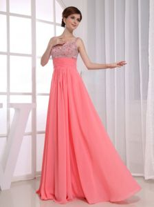 Beaded Watermelon Chiffon Plus Size Formal Dresses Floor-length