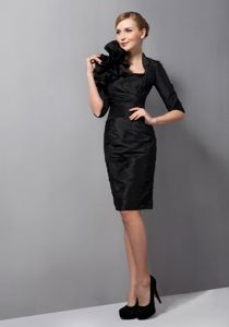 Black Mini-length Taffeta Military Ball Formal Dresses with Ruches