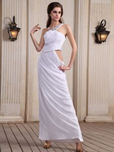 One Shoulder Prom Dress Military Ball Dresses with Beading Chiffon
