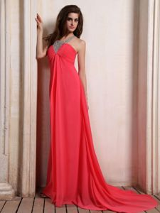 Coral Red V-neck Chiffon Long Dresses For Military Ball with Beading