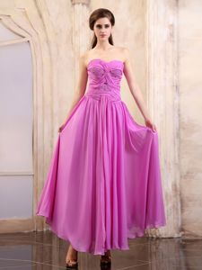 Lavender Sweetheart Gown For Military Ball with Ruches Ankle-length
