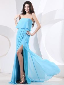 Strapless High Slit Gown For Military Ball Baby Blue and Brush Train