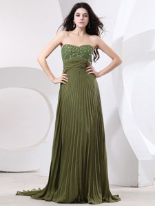Beaded Pleated Military Ball Gown with Brush Train in Olive Green