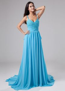 Low Back Aqua Blue Beaded Court Train Formal Dresses with Straps