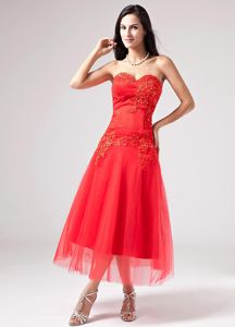 Lace-up Ankle-length Red Beaded Military Ball Dress with Appliques