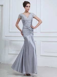 V-neck Short Sleeves Grey Ankle-length Beaded Military Ball Dresses