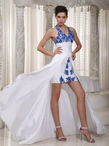 Halter High-low White Formal Dresses For Military Ball with Appliques