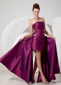 Unique Strapless Ruched Fuchsia Long Formal Dress For Military Ball