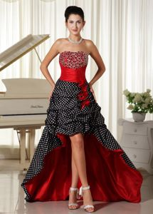 Colorful Zipper-up High-low Ruched Military Ball Dress with Flowers
