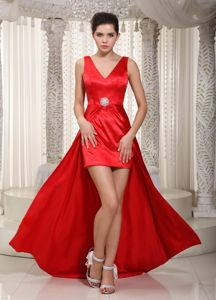 New V-neck High-low Beaded Red Evening Dresses For Military Ball